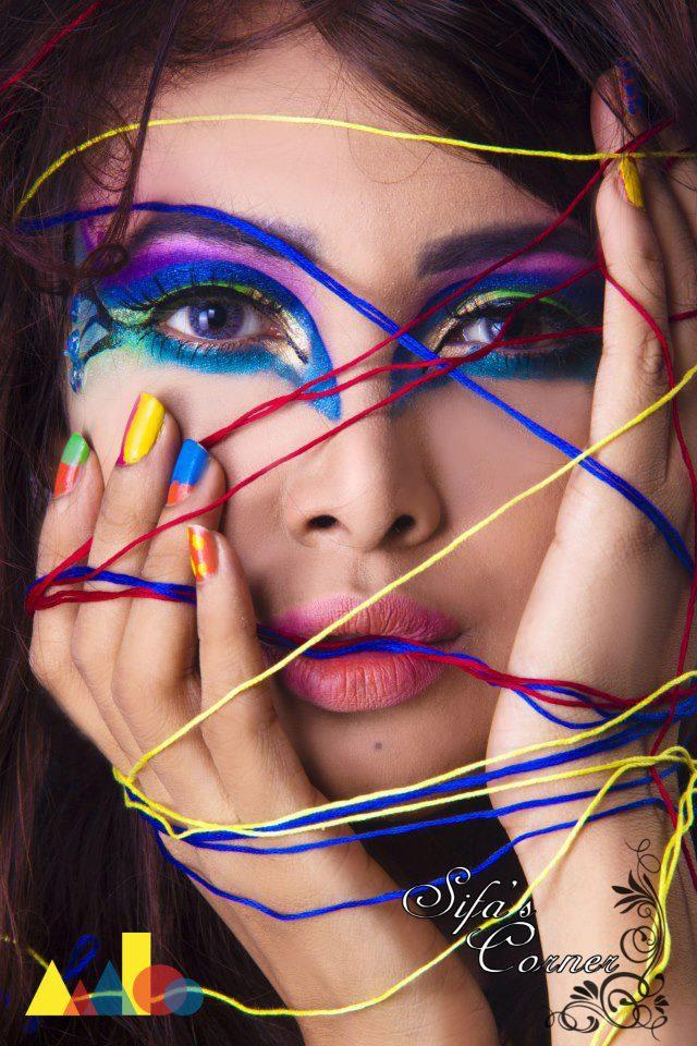 Creative makeup for photoshoot
